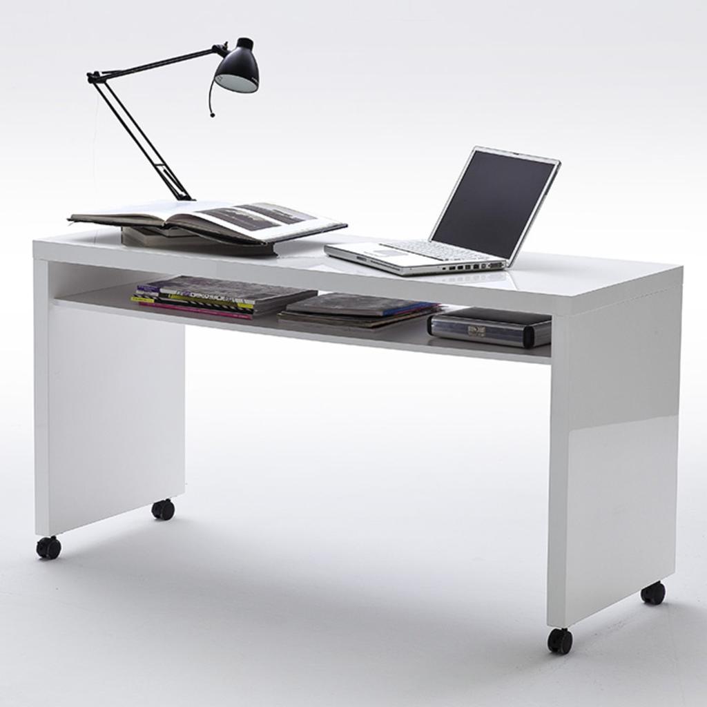 Meubeltop bureau ivy ii hoogglans wit van aspect design misc for Ladenblok bureau wit