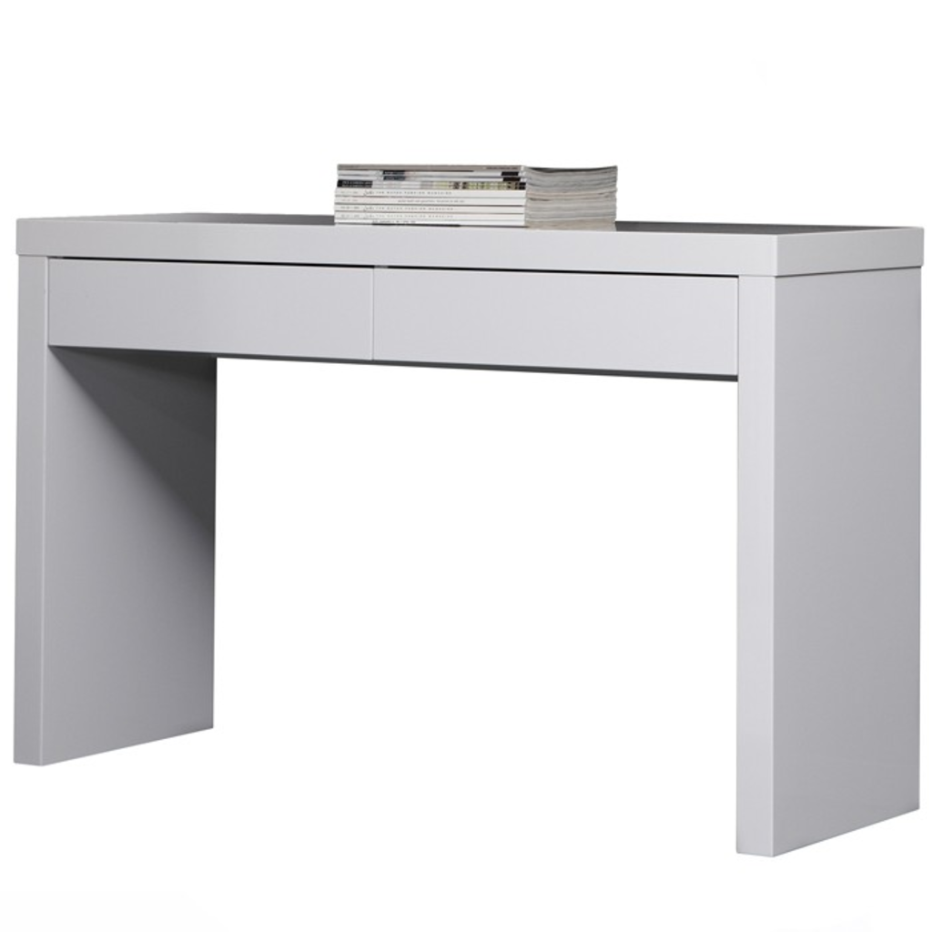 Meubeltop davidi bijzet tafel 2 lades 120x40 hoogglans for Bureau 40 cm diep