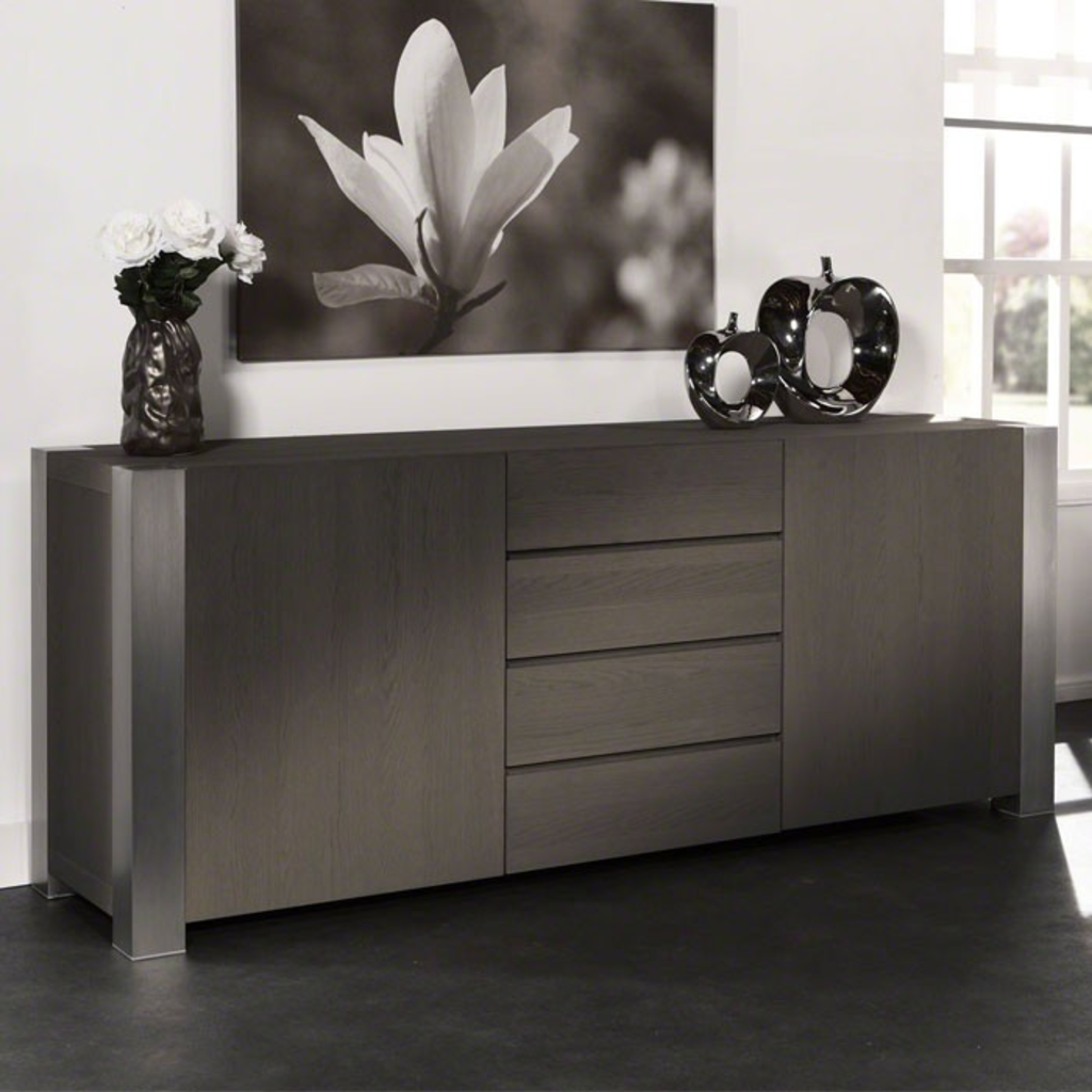 Meubeltop davidi design dressoir bruin rvs 215cm van for Dressoir design