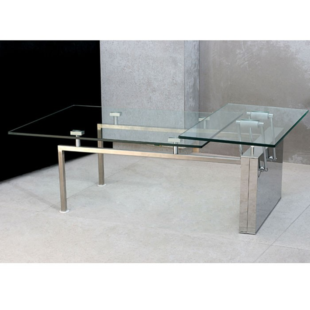 Meubeltop davidi design salontafel verias glas rvs van for Salontafel glas