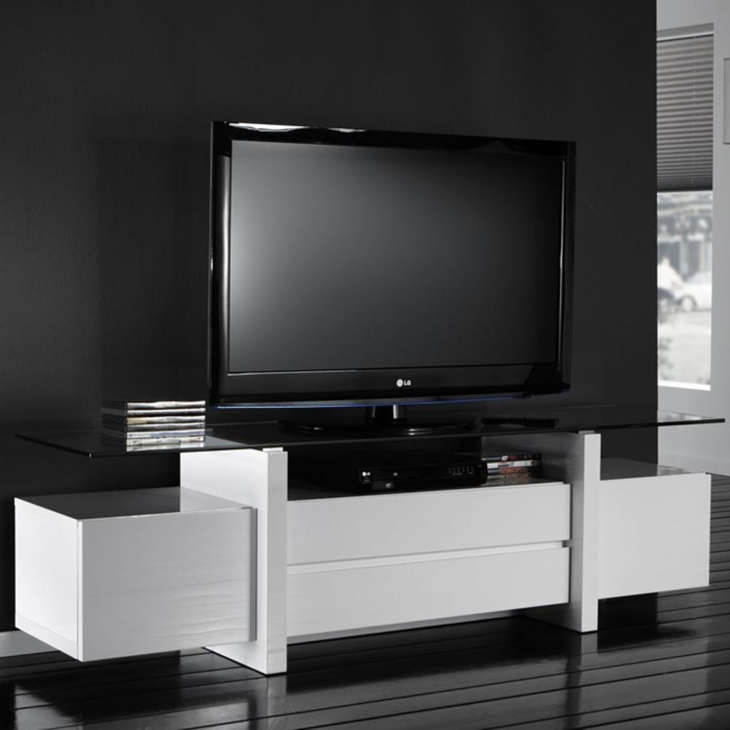 Meubeltop davidi design tv meubel 175x45 met glasplaat for Huiskamer meubels