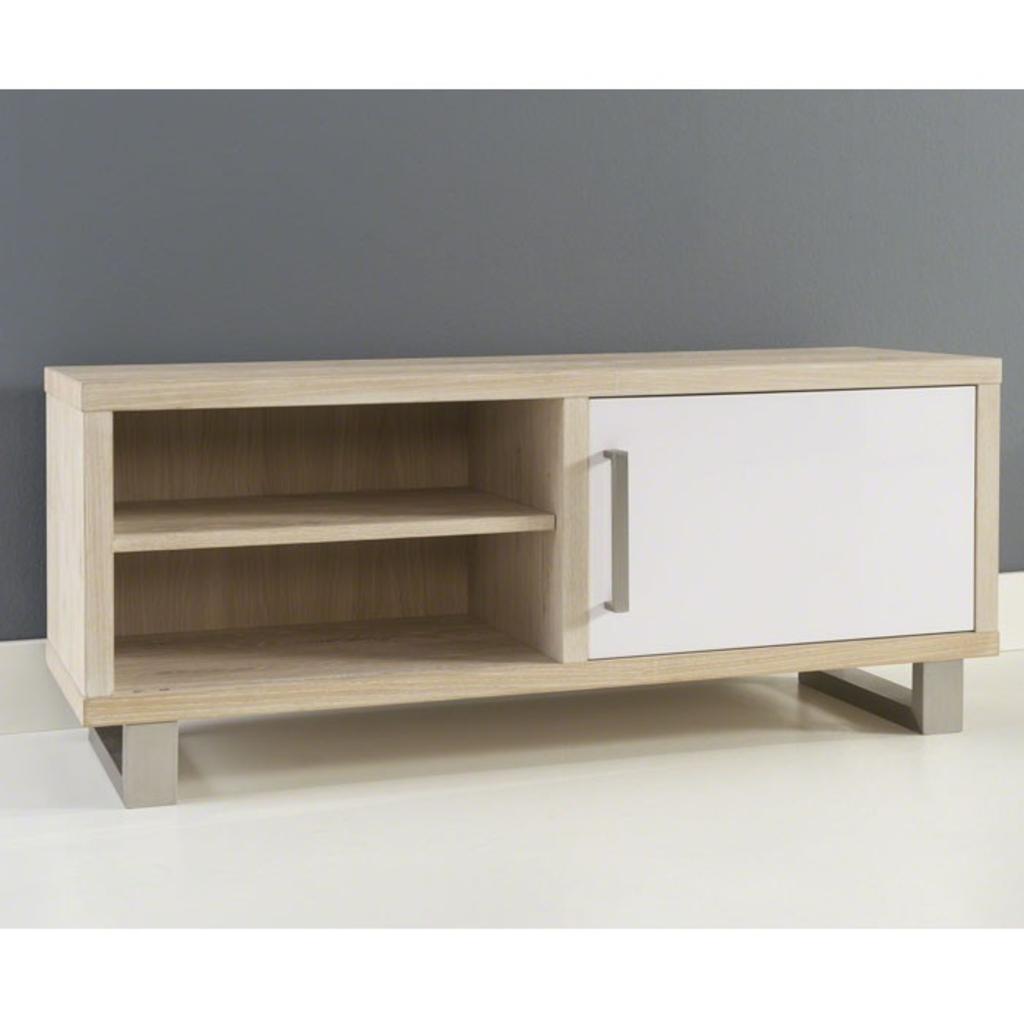 Meubeltop davidi design tv meubel wit bruin klassiek 1l for Huiskamer meubels