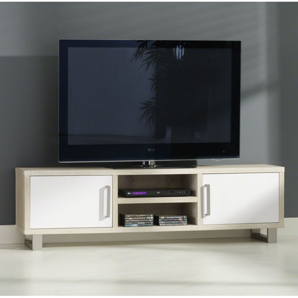 Meubeltop davidi design tv meubel wit bruin klassiek 2d for Huiskamer meubels