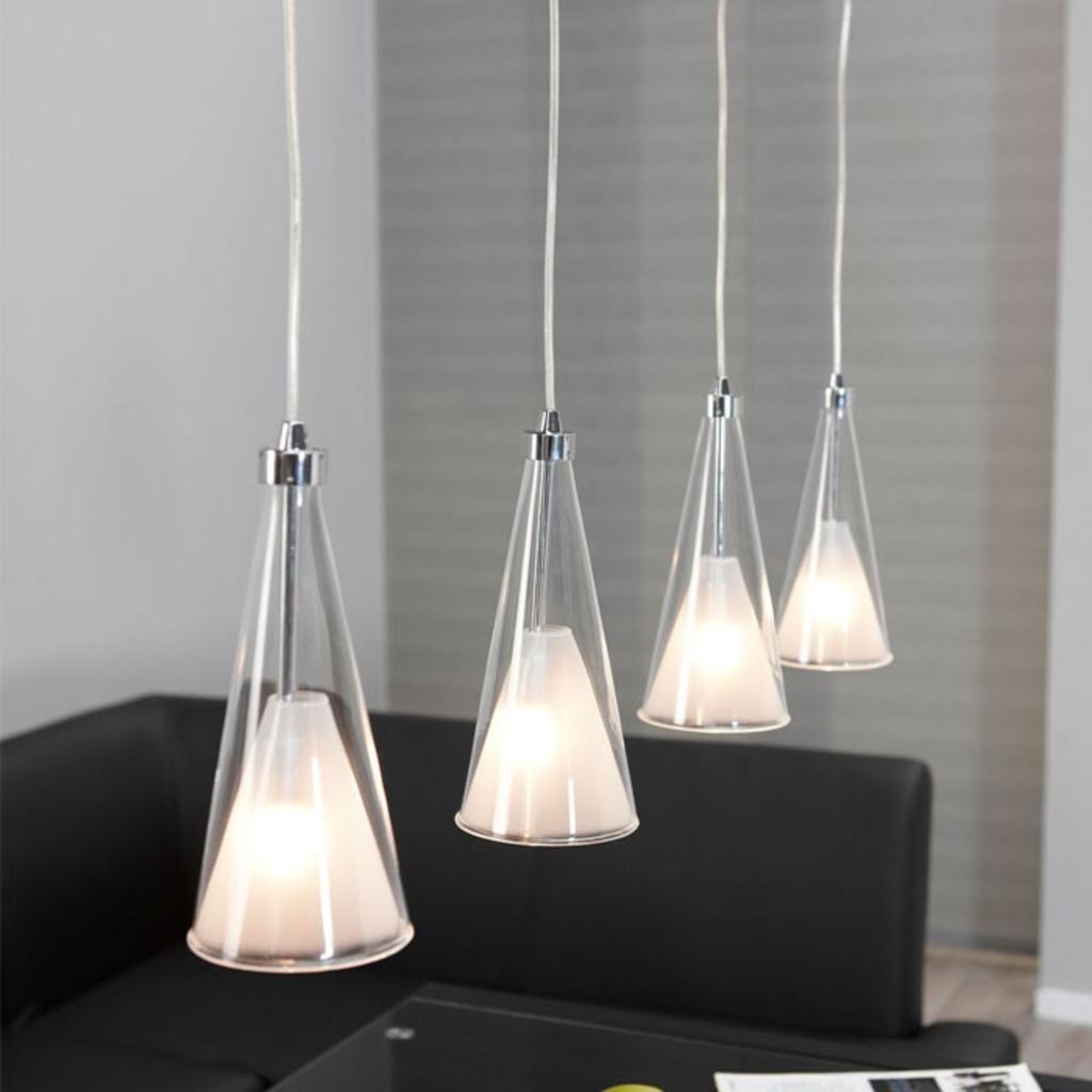 Meubeltop davidi hanglamp 4l dubbele glaskap taps for Lampen chrom