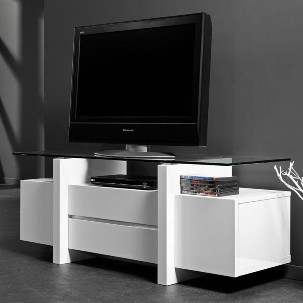 Meubeltop davidi tv meubel 129x45 met glasplaat wit van for Huiskamer meubels