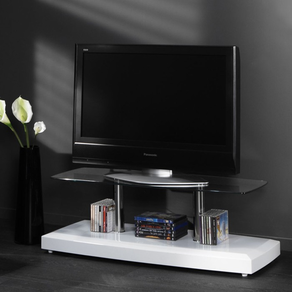 Meubeltop davidi tv meubel hoogglans wit rvs van davidi for Huiskamer meubels