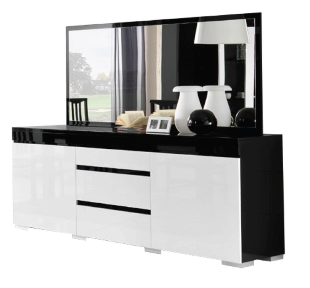 Meubeltop davidi design zenos dressoir met spiegel hg zwart wit van davidi design hal root - Dressoir met spiegel ...