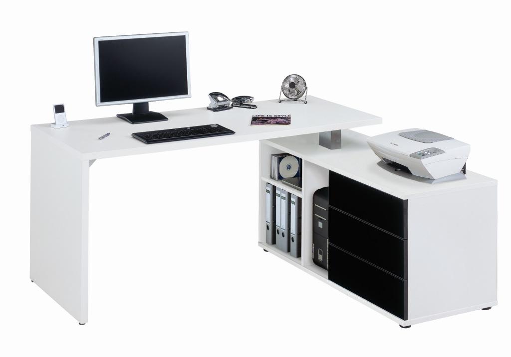 Meubeltop jahnke bureau cpl 560 wit hoogglans zwart van - Mesa escritorio esquina ...