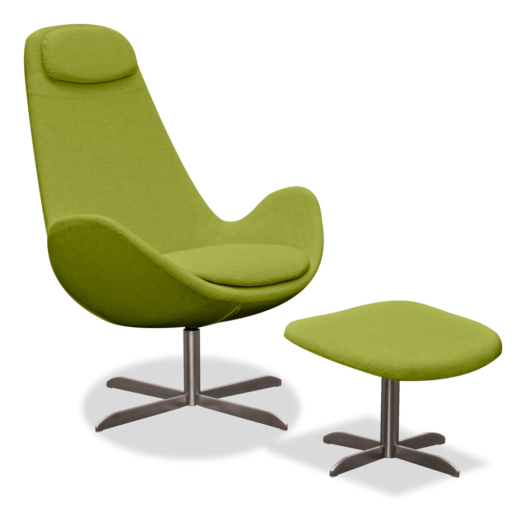 Meubeltop lounge fauteuil houston groen hoog met hocker van fashion for home misc - Eigentijdse design lounge ...