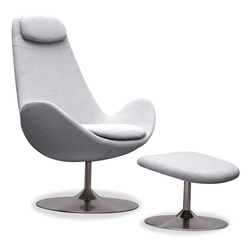 Meubeltop lounge fauteuil houston lichtgrijs hoog met hocker draaipoot van fashion for home misc - Eigentijdse design lounge ...