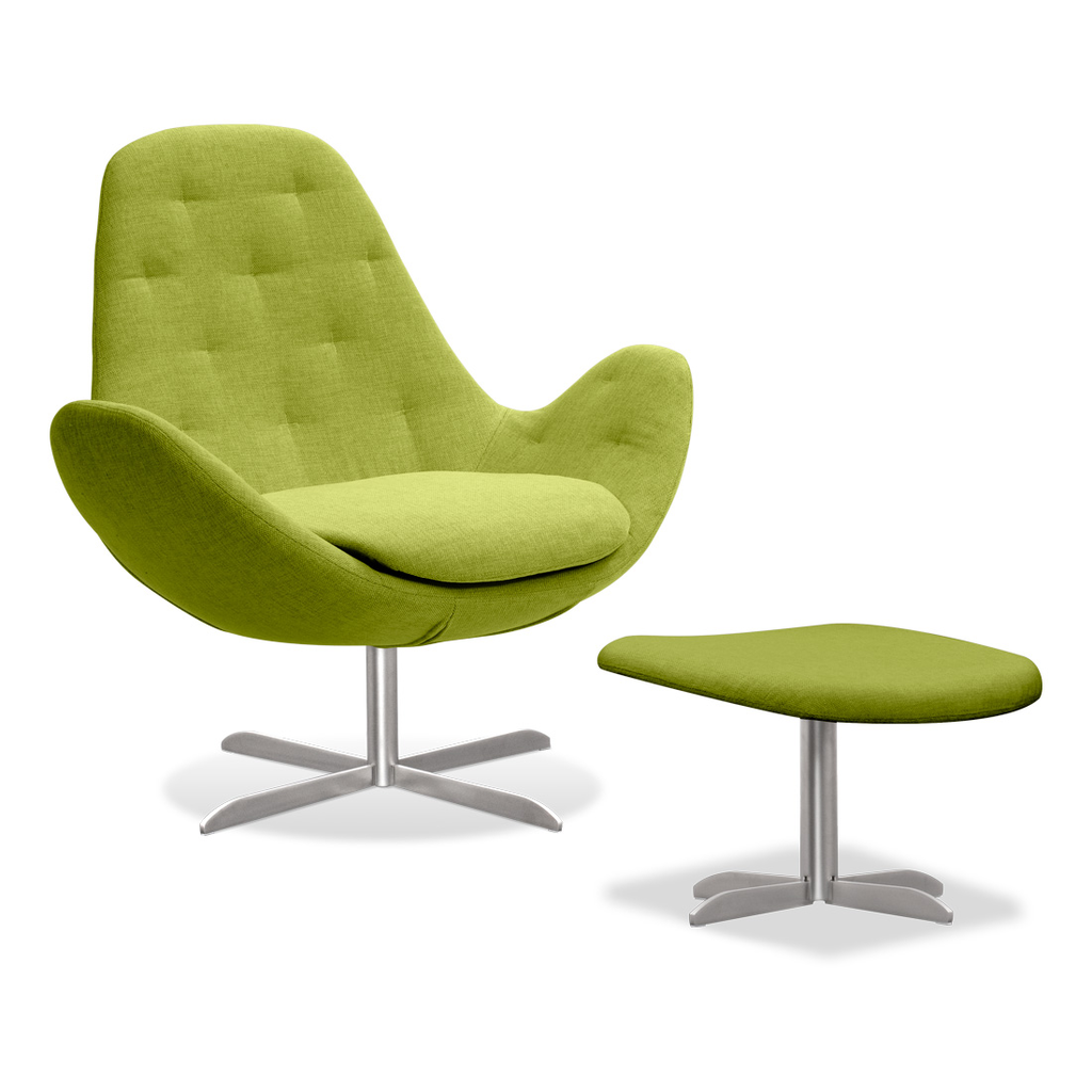 Meubeltop lounge stoel houston ii groen laag met hocker van fashion for home misc - Comfortabele lounge stoel ...
