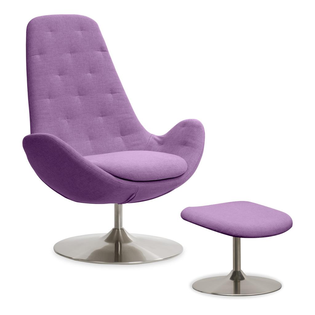 Meubeltop lounge stoel houston ii lila hoog met hocker draaipoot van fashion for home misc - Comfortabele lounge stoel ...