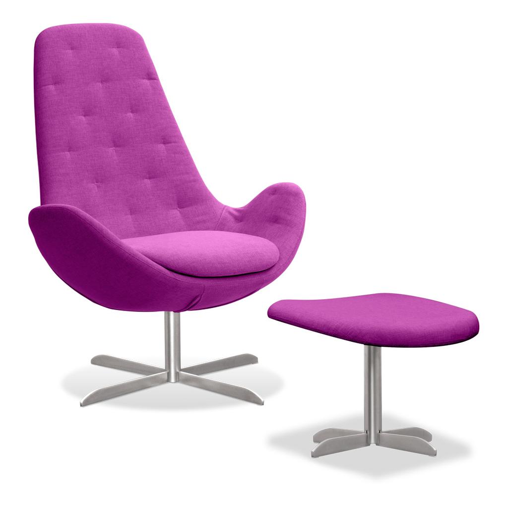 Meubeltop lounge stoel houston ii pink hoog met hocker van fashion for home misc - Eigentijdse design lounge ...