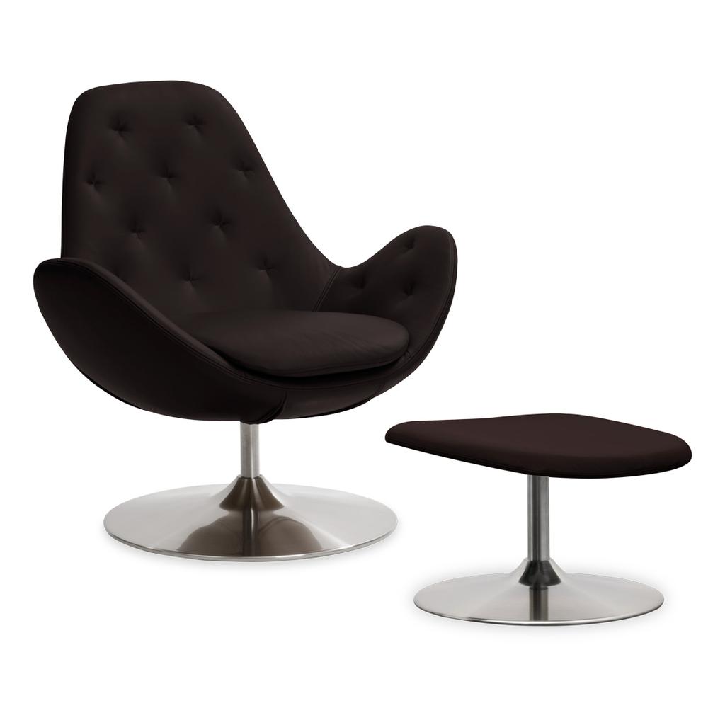 Meubeltop lounge stoel houston ii semi anilineleer amaretto laag met hocker draaipoot van - Eigentijdse design lounge ...
