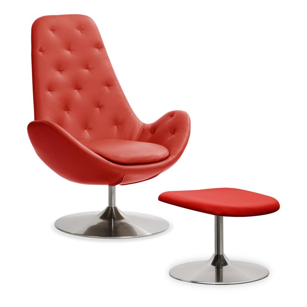 Meubeltop lounge stoel houston ii semi anilineleer rood hoog met hocker draaipoot van fashion - Comfortabele lounge stoel ...