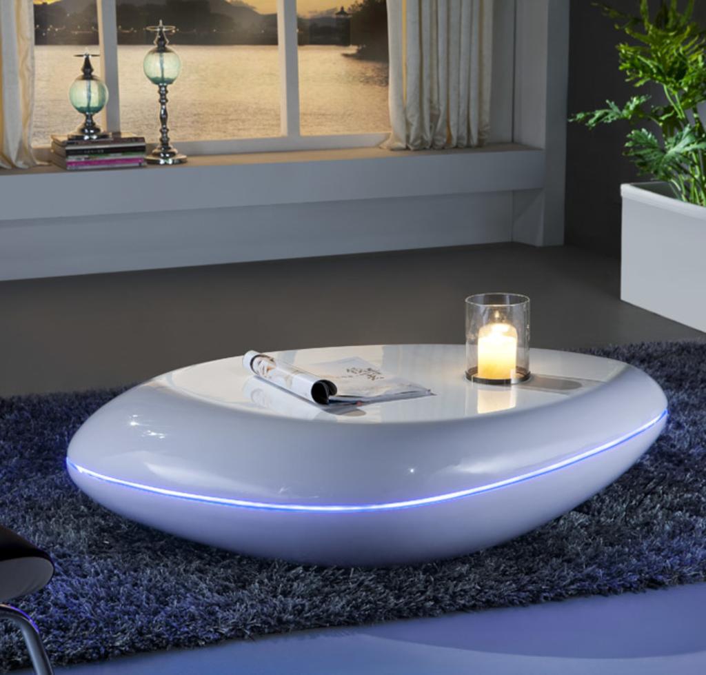 Meubeltop salontafel nils hoogglans grijs led van for Aspect design