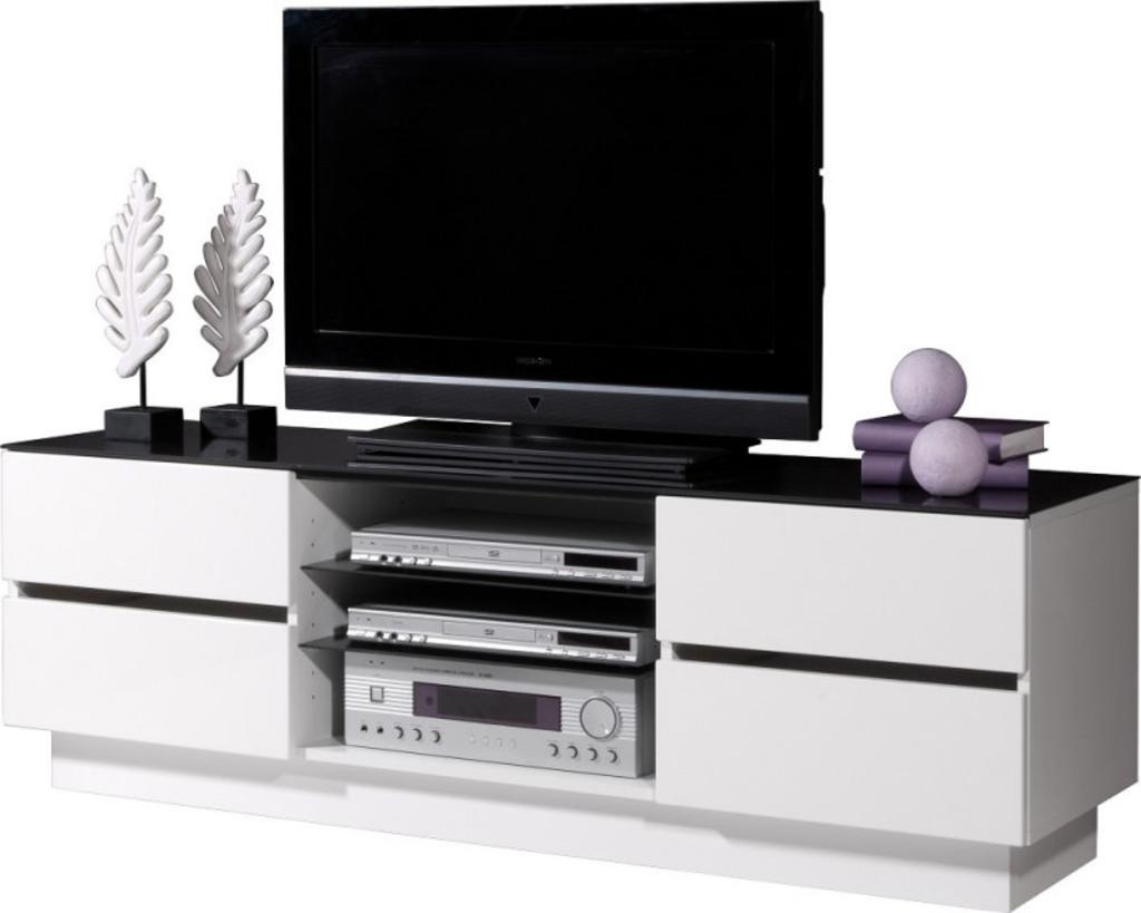 Meubeltop tv meubel alhwin wit zwart glas van germania misc for Tv meubel glas