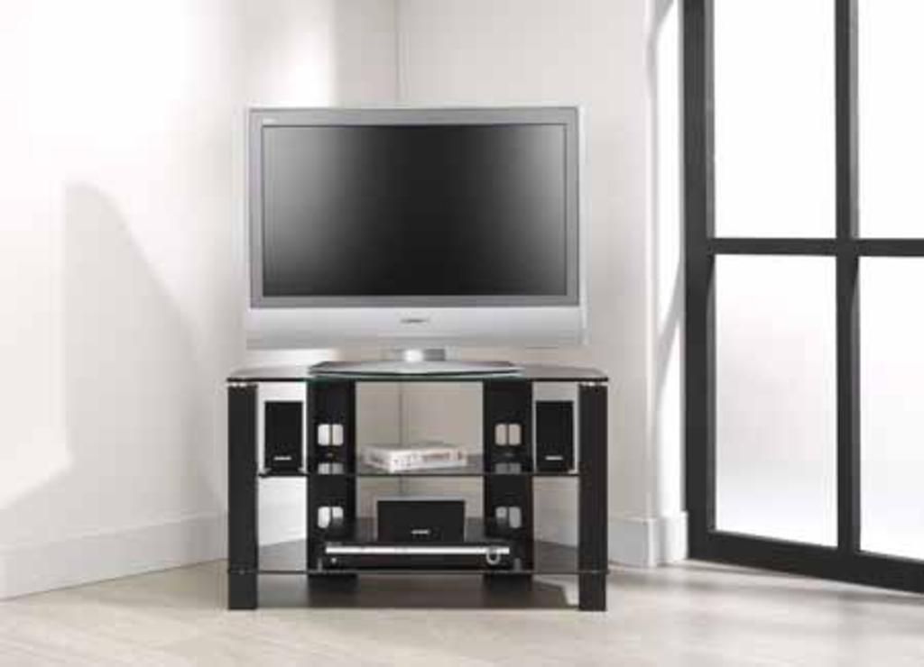Meubeltop tv meubel loris zwart glas 85 cm van for Tv meubel glas