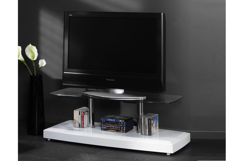 Meubeltop tv meubel santo hoogglans wit glas 100 cm van for Tv meubel glas