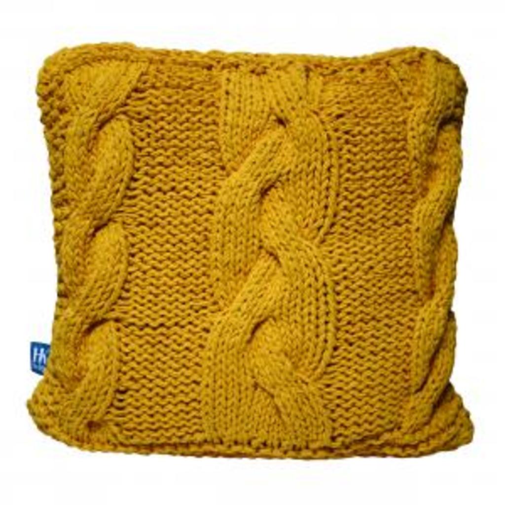 Meubeltop woonkussen gebreid geel hkliving van hkliving stoelen banken en poufs stoelen en banken - Eigentijdse pouf ...